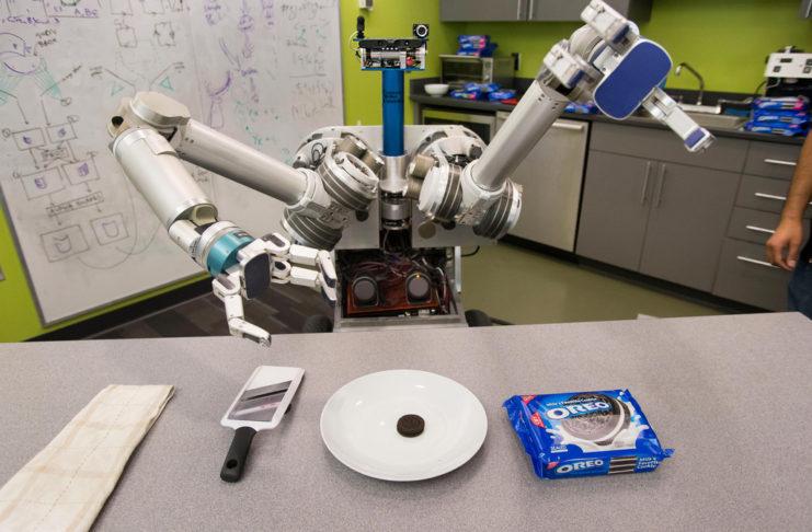 creative robot with oreos