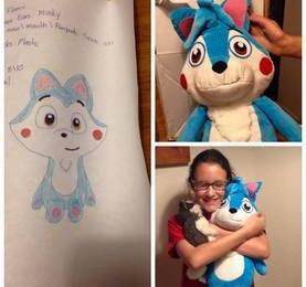 drawing made into stuffed animal