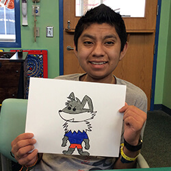 adolfo with his wolf art
