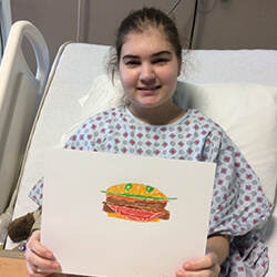 cheyenne with her hamburger art