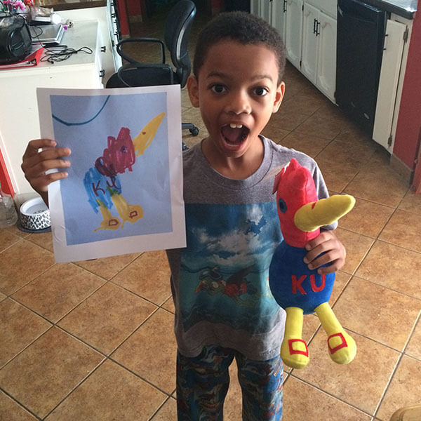 kids drawing turned into a stuffed animal