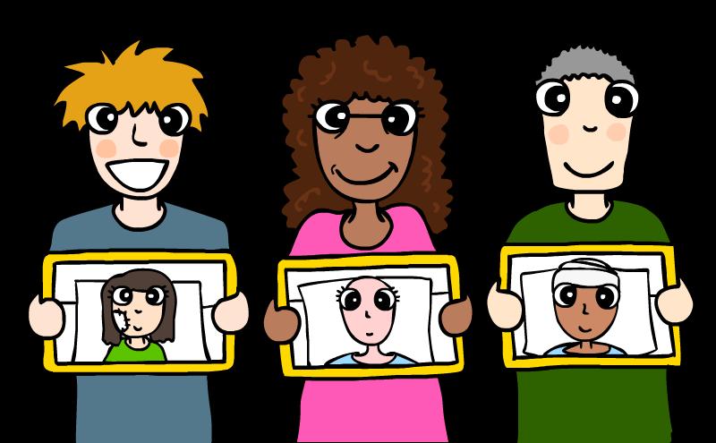 Sponsors holding photos of children