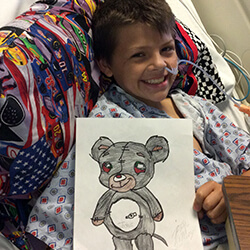 Josh and his bear drawing
