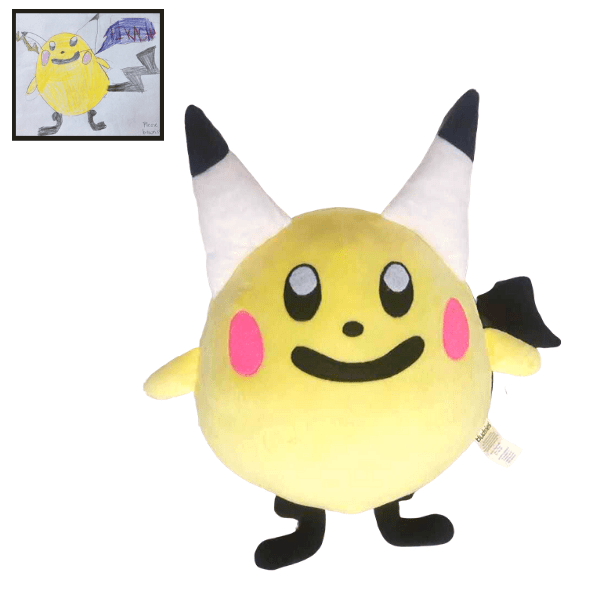 Pikachu drawing Stuffed Animal Custom, Pikachu Inspired plush