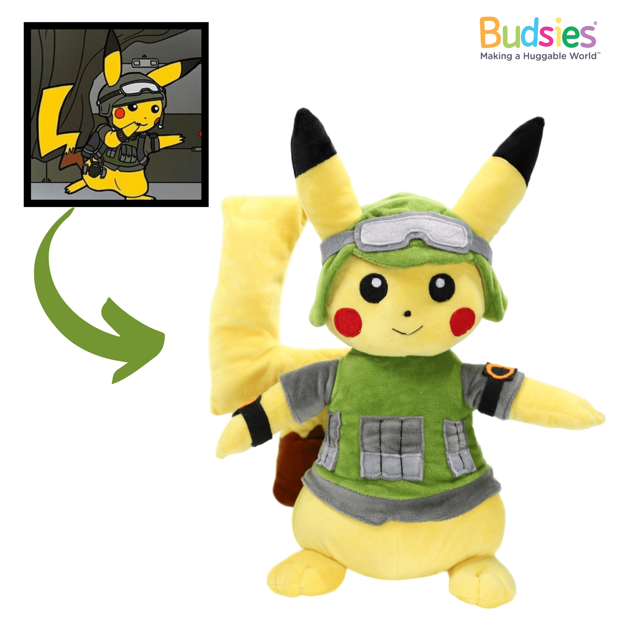 custom pikachu stuffed animal in soldier outfit