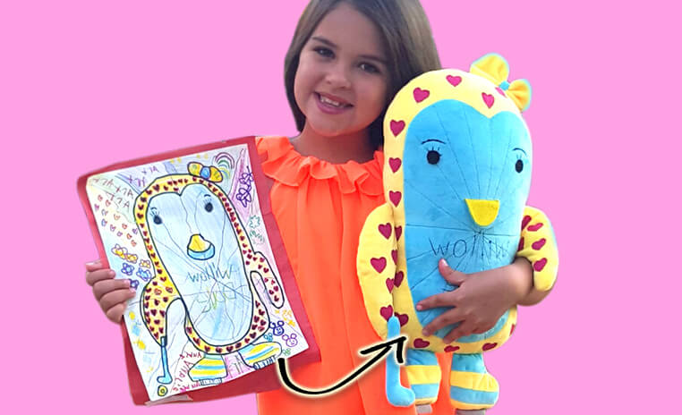 girl with blue plush animal from picture
