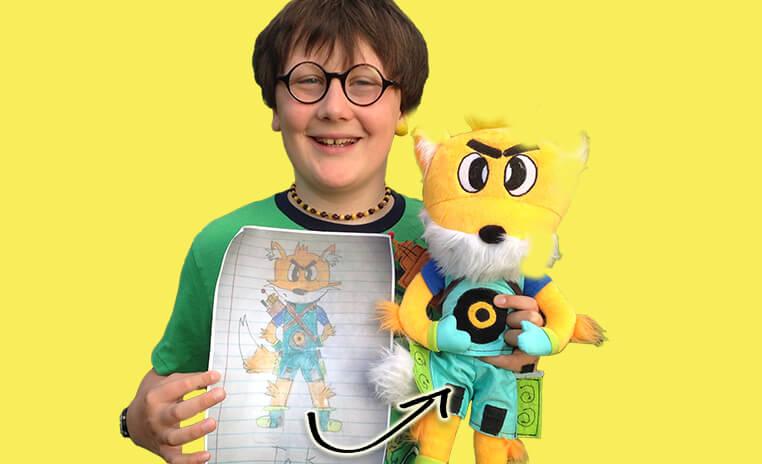 boy with stuffed animal fox
